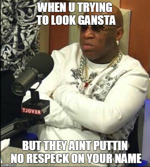 Put some respeck on my name | WHEN U TRYING TO LOOK GANSTA BUT THEY AINT PUTTIN NO RESPECK ON YOUR NAME | image tagged in birdman,respeck | made w/ Imgflip meme maker