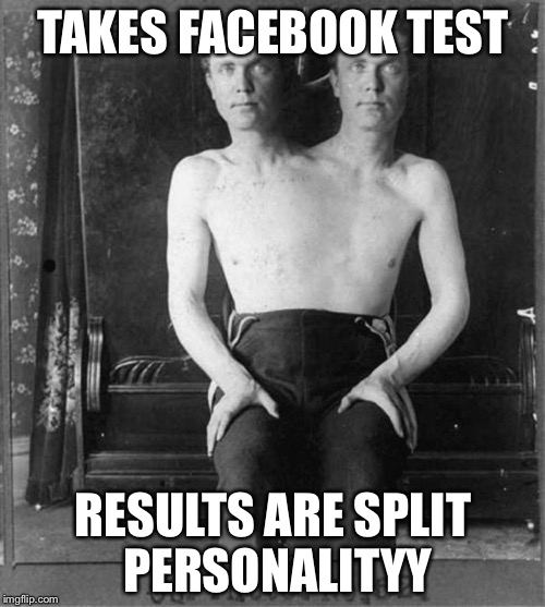 Two headed man | TAKES FACEBOOK TEST RESULTS ARE SPLIT PERSONALITYY | image tagged in two headed man | made w/ Imgflip meme maker
