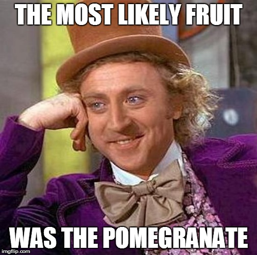 Creepy Condescending Wonka Meme | THE MOST LIKELY FRUIT WAS THE POMEGRANATE | image tagged in memes,creepy condescending wonka | made w/ Imgflip meme maker