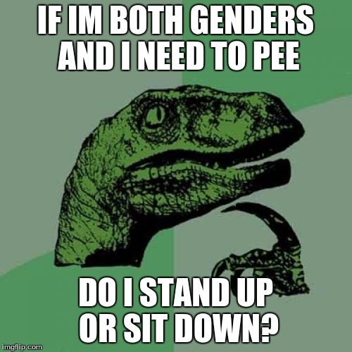 Ever think of that? | IF IM BOTH GENDERS AND I NEED TO PEE DO I STAND UP OR SIT DOWN? | image tagged in memes,philosoraptor | made w/ Imgflip meme maker