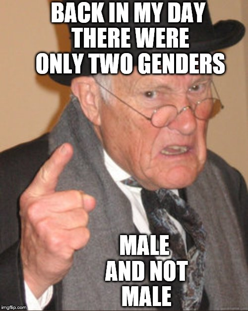 BACK IN MY DAY THERE WERE ONLY TWO GENDERS MALE AND NOT MALE | image tagged in memes,back in my day,gender | made w/ Imgflip meme maker