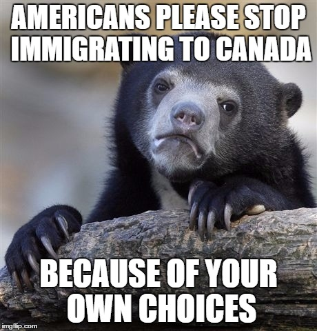 The American refugee crisis shall be upon us soon. | AMERICANS PLEASE STOP IMMIGRATING TO CANADA BECAUSE OF YOUR OWN CHOICES | image tagged in memes,confession bear | made w/ Imgflip meme maker