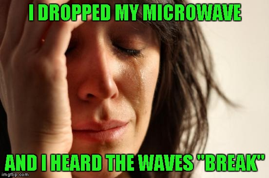 "First World Problems Meme | I DROPPED MY MICROWAVE AND I HEARD THE WAVES ""BREAK"" 