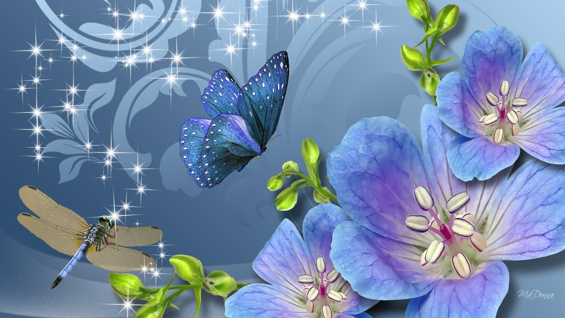 Blue Flowers butterfly dragonfly Blank Template - Imgflip