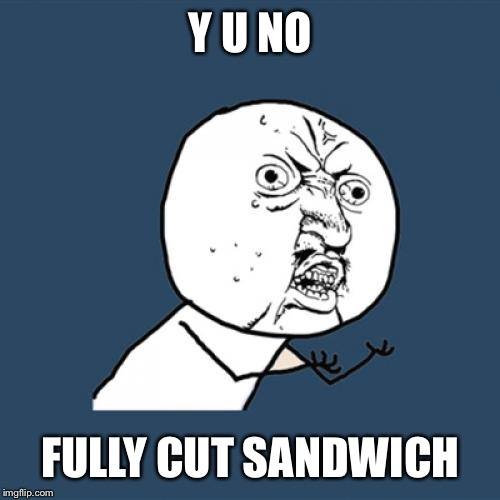 Y U No Meme | Y U NO FULLY CUT SANDWICH | image tagged in memes,y u no | made w/ Imgflip meme maker