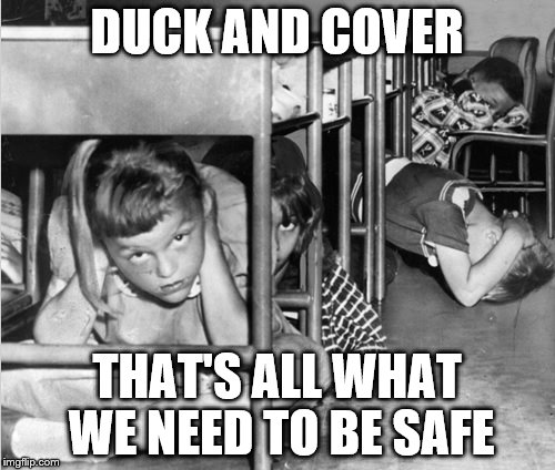 DUCK AND COVER THAT'S ALL WHAT WE NEED TO BE SAFE | image tagged in duck_and_cover | made w/ Imgflip meme maker