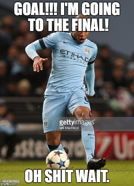 Champions League Fail! | GOAL!!! I'M GOING TO THE FINAL! OH SHIT WAIT. | image tagged in soccer flop,manchester city,champions league | made w/ Imgflip meme maker