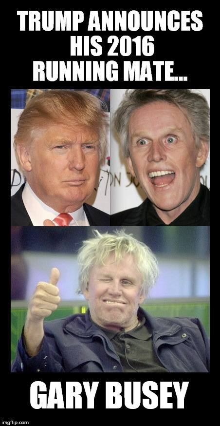Trump VP | GARY BUSEY | image tagged in trump,donald trump,gary busey,vice president | made w/ Imgflip meme maker