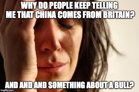 First World Problems Meme | WHY DO PEOPLE KEEP TELLING ME THAT CHINA COMES FROM BRITAIN? AND AND AND SOMETHING ABOUT A BULL? | image tagged in memes,first world problems | made w/ Imgflip meme maker