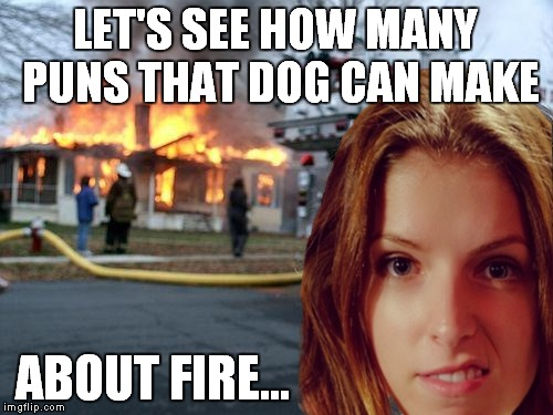 The competition is really heating up! | LET'S SEE HOW MANY PUNS THAT DOG CAN MAKE ABOUT FIRE... | image tagged in anna kendrick,bad pun dog,meme war | made w/ Imgflip meme maker