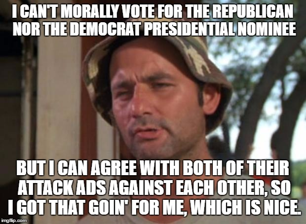 So I Got That Goin For Me Which Is Nice |  I CAN'T MORALLY VOTE FOR THE REPUBLICAN NOR THE DEMOCRAT PRESIDENTIAL NOMINEE; BUT I CAN AGREE WITH BOTH OF THEIR ATTACK ADS AGAINST EACH OTHER, SO I GOT THAT GOIN' FOR ME, WHICH IS NICE. | image tagged in memes,so i got that goin for me which is nice | made w/ Imgflip meme maker