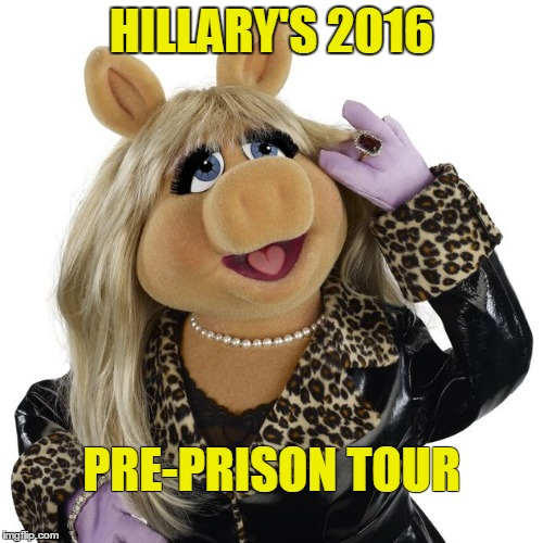 Hillary All Dressed Up |  HILLARY'S 2016; PRE-PRISON TOUR | image tagged in hillary,election,piggy,muppet | made w/ Imgflip meme maker