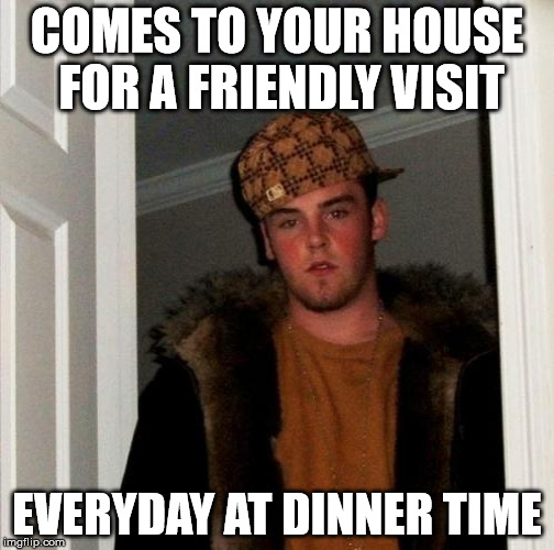 COMES TO YOUR HOUSE FOR A FRIENDLY VISIT EVERYDAY AT DINNER TIME | made w/ Imgflip meme maker