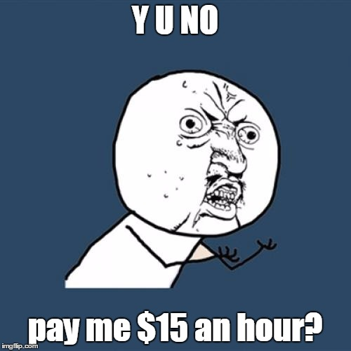 Y U No Meme | Y U NO pay me $15 an hour? | image tagged in memes,y u no | made w/ Imgflip meme maker