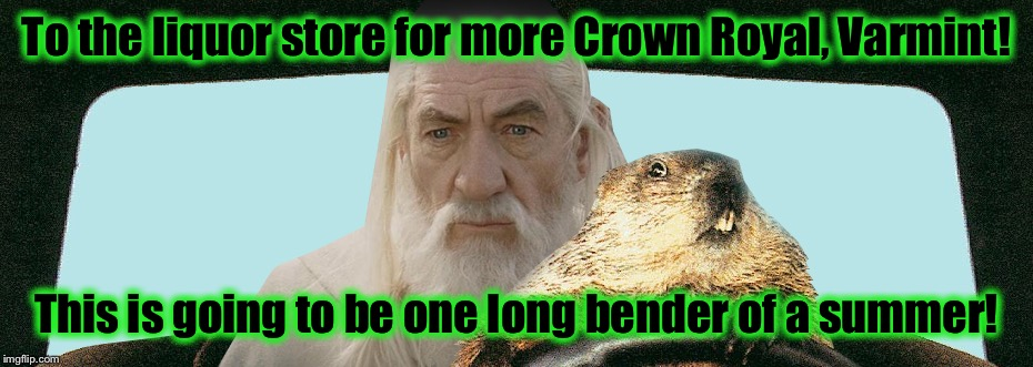 Gandalf Groundhog  | To the liquor store for more Crown Royal, Varmint! This is going to be one long bender of a summer! | image tagged in gandalf groundhog | made w/ Imgflip meme maker