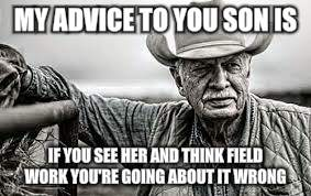 MY ADVICE TO YOU SON IS IF YOU SEE HER AND THINK FIELD WORK YOU'RE GOING ABOUT IT WRONG | made w/ Imgflip meme maker