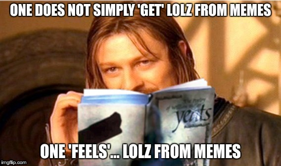 One 'Feels'... Lolz from memes... | image tagged in equi-bean-ium,one does not simply,sean bean,memes | made w/ Imgflip meme maker
