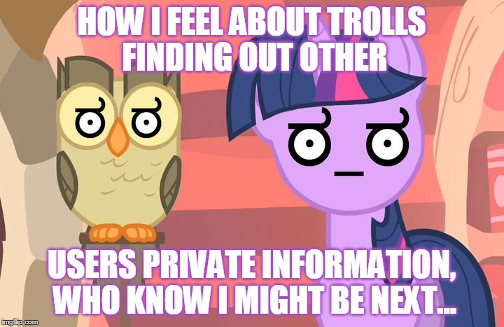 I'm Scared Guys, Really... | HOW I FEEL ABOUT TROLLS FINDING OUT OTHER USERS PRIVATE INFORMATION, WHO KNOW I MIGHT BE NEXT... | image tagged in wth,mlp,my little pony,twilight sparkle,scared,memes | made w/ Imgflip meme maker