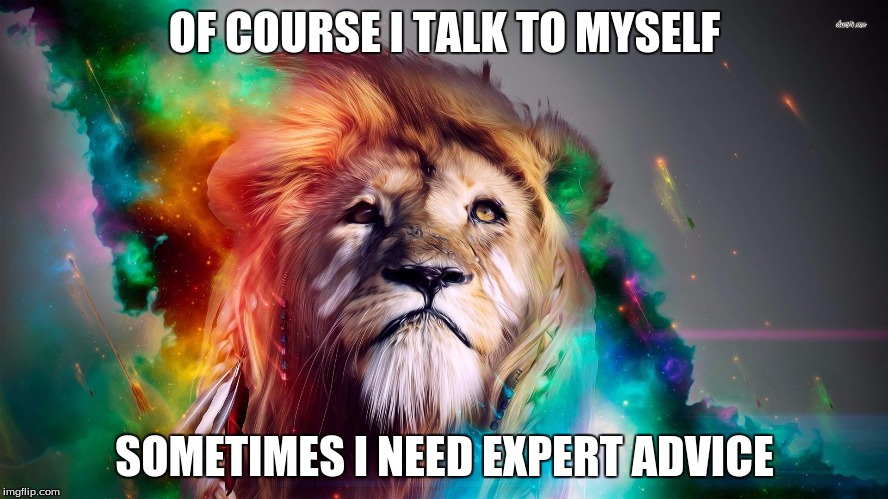 Majestic Rainbow Lion | OF COURSE I TALK TO MYSELF SOMETIMES I NEED EXPERT ADVICE | image tagged in majestic rainbow lion | made w/ Imgflip meme maker