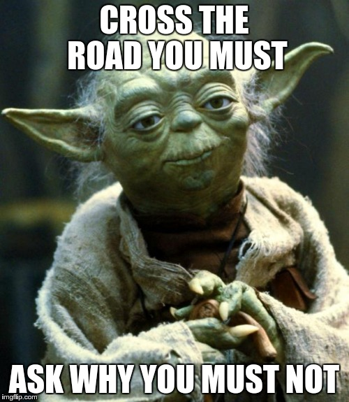 Star Wars Yoda Meme | CROSS THE ROAD YOU MUST ASK WHY YOU MUST NOT | image tagged in memes,star wars yoda | made w/ Imgflip meme maker