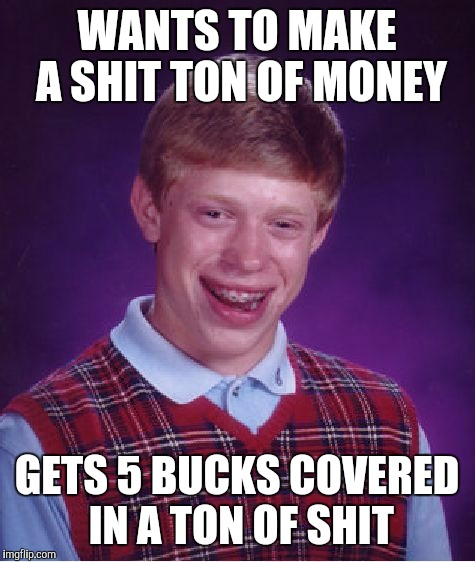 Bad Luck Brian Meme | WANTS TO MAKE A SHIT TON OF MONEY GETS 5 BUCKS COVERED IN A TON OF SHIT | image tagged in memes,bad luck brian | made w/ Imgflip meme maker