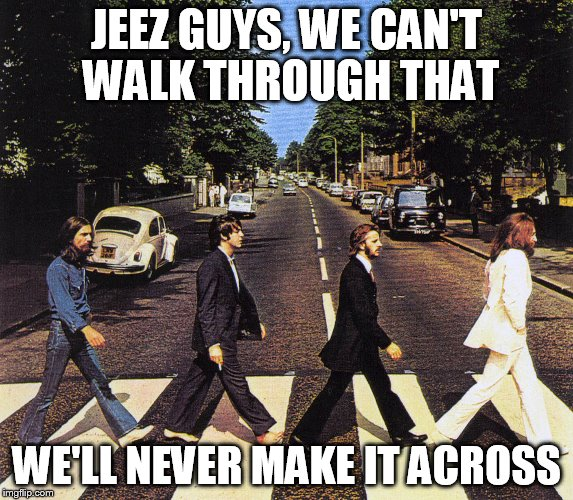 JEEZ GUYS, WE CAN'T WALK THROUGH THAT WE'LL NEVER MAKE IT ACROSS | made w/ Imgflip meme maker
