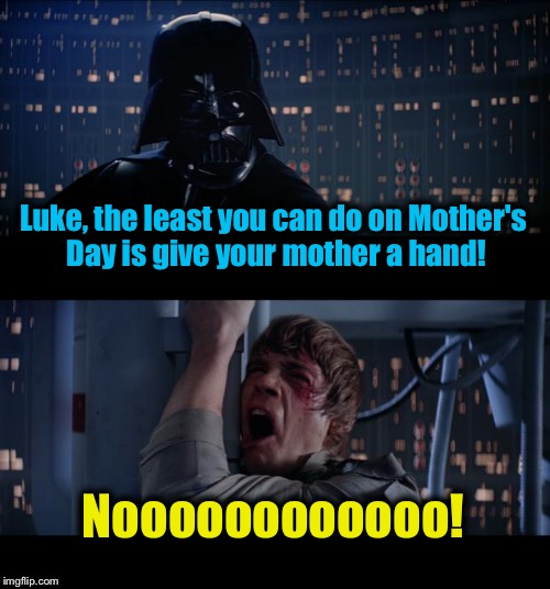 Star Wars No Meme | Luke, the least you can do on Mother's Day is give your mother a hand! Noooooooooooo! | image tagged in memes,star wars no | made w/ Imgflip meme maker
