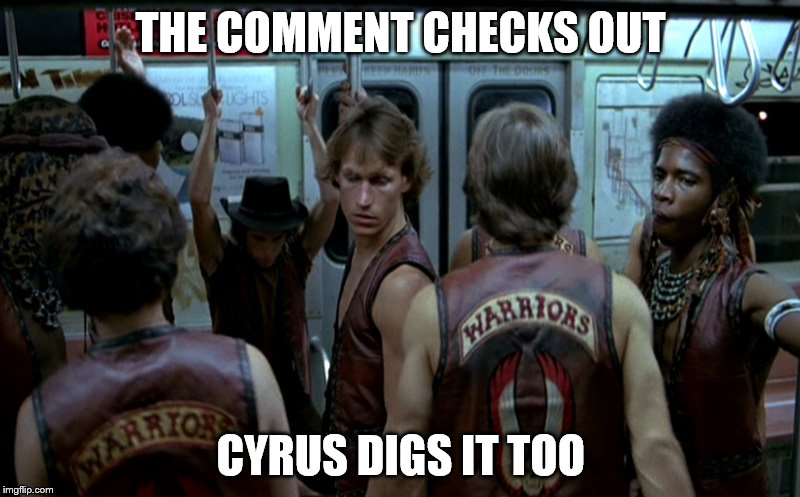 THE COMMENT CHECKS OUT CYRUS DIGS IT TOO | made w/ Imgflip meme maker
