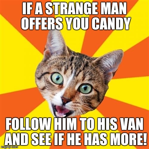 Bad Advice Cat | IF A STRANGE MAN OFFERS YOU CANDY FOLLOW HIM TO HIS VAN AND SEE IF HE HAS MORE! | image tagged in memes,bad advice cat | made w/ Imgflip meme maker