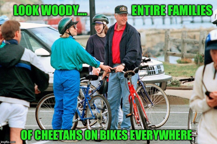 LOOK WOODY....                    ENTIRE FAMILIES OF CHEETAHS ON BIKES EVERYWHERE | made w/ Imgflip meme maker