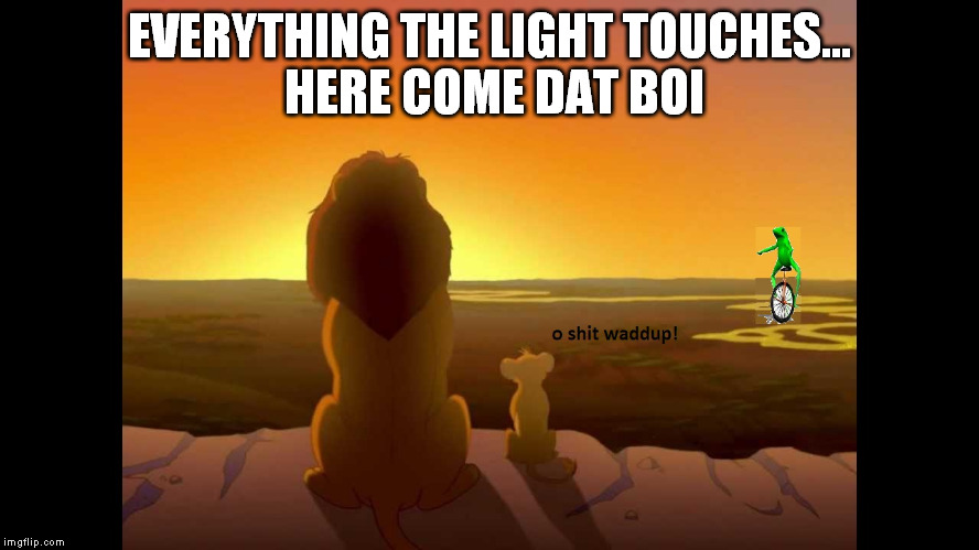 Dat lion boi | EVERYTHING THE LIGHT TOUCHES... HERE COME DAT BOI | image tagged in dat boi,oshitwaddup,lion king,datboi,o shit waddup | made w/ Imgflip meme maker