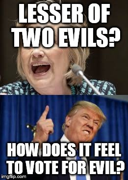 LESSER OF TWO EVILS? HOW DOES IT FEEL TO VOTE FOR EVIL? | image tagged in hillary clinton,donald trump,lesser of two evils | made w/ Imgflip meme maker