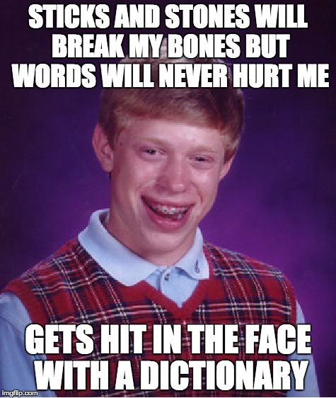 Bad Luck Brian Meme | STICKS AND STONES WILL BREAK MY BONES BUT WORDS WILL NEVER HURT ME GETS HIT IN THE FACE WITH A DICTIONARY | image tagged in memes,bad luck brian | made w/ Imgflip meme maker