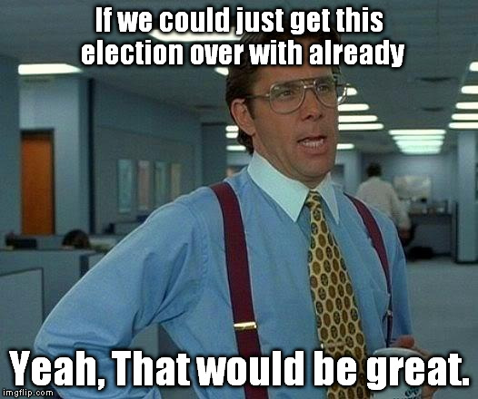 Election Fatigue. Can we limit politicking to 6 months or less? | If we could just get this election over with already; Yeah, That would be great. | image tagged in memes,that would be great | made w/ Imgflip meme maker