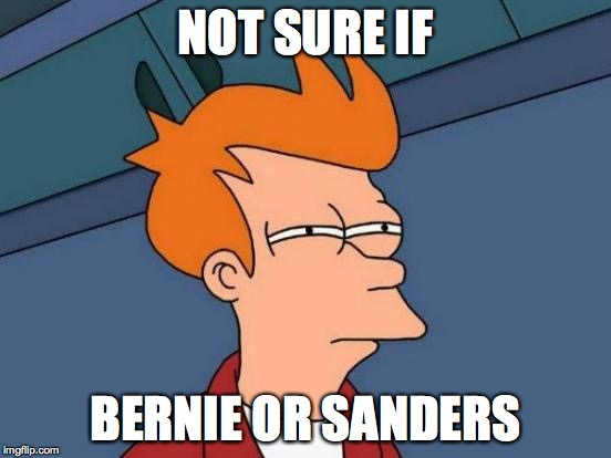 NOT SURE IF BERNIE OR SANDERS | image tagged in memes,futurama fry | made w/ Imgflip meme maker