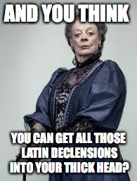 The Dowager Countess's Latin Class |  AND YOU THINK; YOU CAN GET ALL THOSE LATIN DECLENSIONS INTO YOUR THICK HEAD? | image tagged in the dowager countess,downton abbey,latin student problems,latin | made w/ Imgflip meme maker