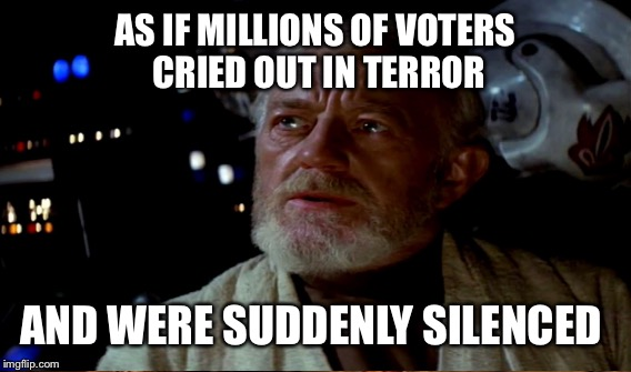 AS IF MILLIONS OF VOTERS CRIED OUT IN TERROR AND WERE SUDDENLY SILENCED | made w/ Imgflip meme maker