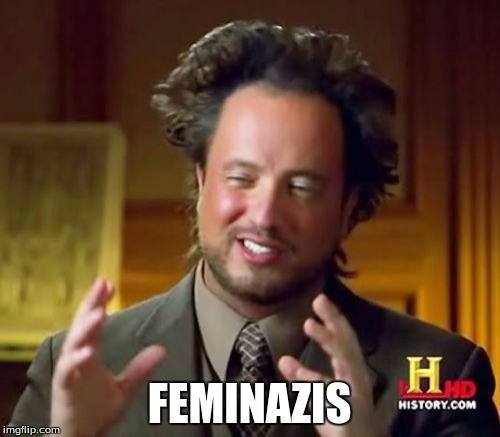 Ancient Aliens Meme | FEMINAZIS | image tagged in memes,ancient aliens | made w/ Imgflip meme maker