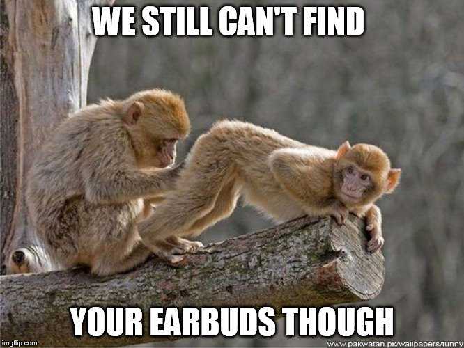WE STILL CAN'T FIND YOUR EARBUDS THOUGH | made w/ Imgflip meme maker