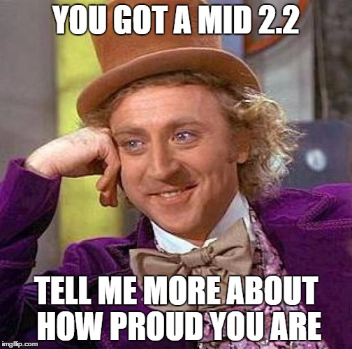 Gold star kids in Uni these days | YOU GOT A MID 2.2 TELL ME MORE ABOUT HOW PROUD YOU ARE | image tagged in memes,creepy condescending wonka,uk,uni,grades,finals | made w/ Imgflip meme maker