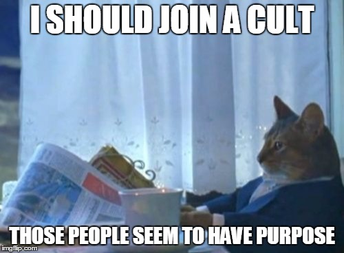 I Should Buy A Boat Cat Meme |  I SHOULD JOIN A CULT; THOSE PEOPLE SEEM TO HAVE PURPOSE | image tagged in memes,i should buy a boat cat,AdviceAnimals | made w/ Imgflip meme maker