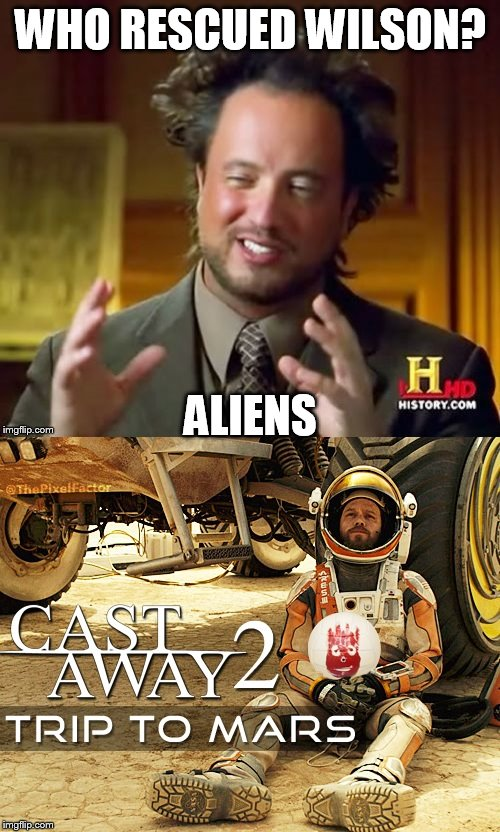 Castaway on Mars | WHO RESCUED WILSON? ALIENS | image tagged in castaway on mars | made w/ Imgflip meme maker