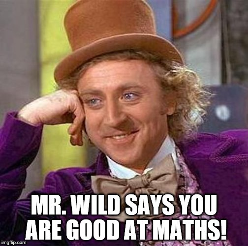 Creepy Condescending Wonka Meme | MR. WILD SAYS YOU ARE GOOD AT MATHS! | image tagged in memes,creepy condescending wonka | made w/ Imgflip meme maker