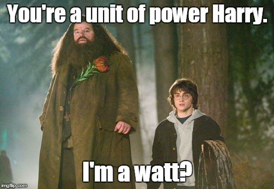 About time someone made this joke | You're a unit of power Harry. I'm a watt? | image tagged in hagrid,funny | made w/ Imgflip meme maker