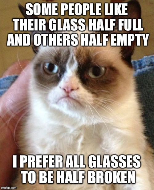Grumpy Cat Meme | SOME PEOPLE LIKE THEIR GLASS HALF FULL AND OTHERS HALF EMPTY I PREFER ALL GLASSES TO BE HALF BROKEN | image tagged in memes,grumpy cat | made w/ Imgflip meme maker