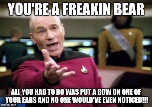 Picard Wtf Meme | YOU'RE A FREAKIN BEAR ALL YOU HAD TO DO WAS PUT A BOW ON ONE OF YOUR EARS AND NO ONE WOULD'VE EVEN NOTICED!!! | image tagged in memes,picard wtf | made w/ Imgflip meme maker