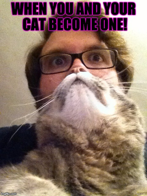 Surprised CatMan | WHEN YOU AND YOUR CAT BECOME ONE! | image tagged in memes,surprised catman | made w/ Imgflip meme maker