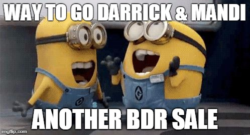 Excited Minions | WAY TO GO DARRICK & MANDI ANOTHER BDR SALE | image tagged in memes,excited minions | made w/ Imgflip meme maker