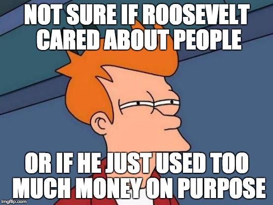 Futurama Fry Meme | NOT SURE IF ROOSEVELT CARED ABOUT PEOPLE OR IF HE JUST USED TOO MUCH MONEY ON PURPOSE | image tagged in memes,futurama fry | made w/ Imgflip meme maker