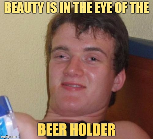 And he's right 9/10 times | BEAUTY IS IN THE EYE OF THE BEER HOLDER | image tagged in memes,10 guy,beauty is in the eye of the beholder | made w/ Imgflip meme maker